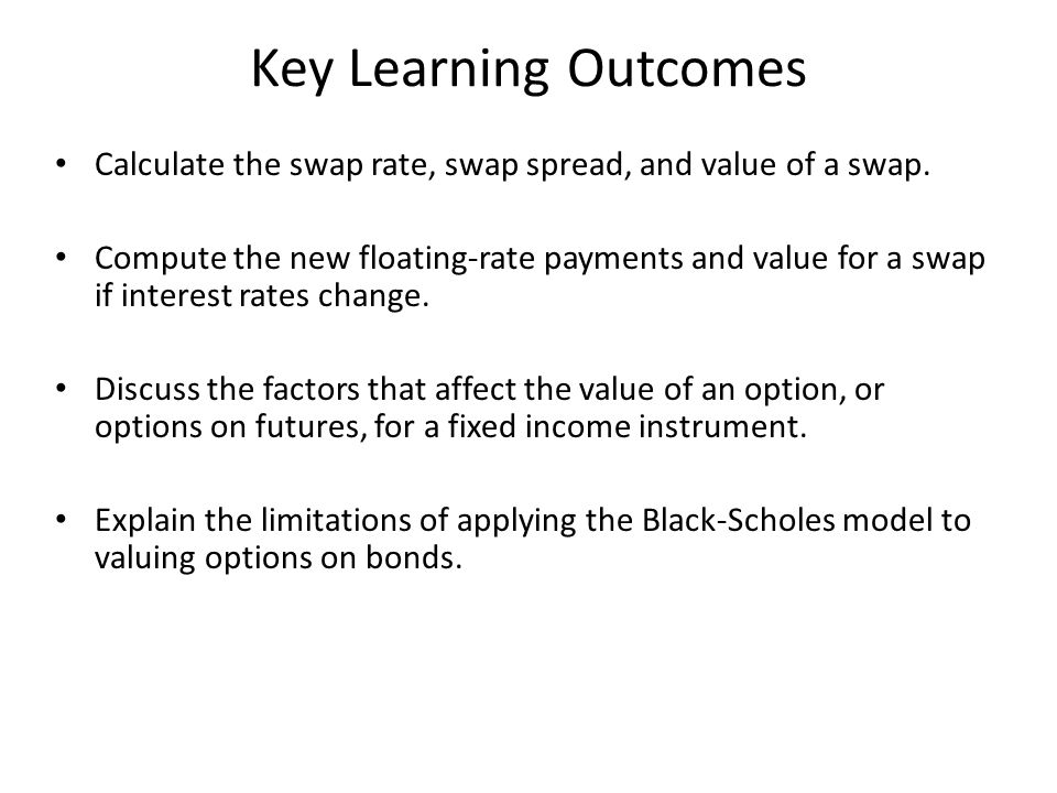 Key Learning Outcomes Calculate the swap rate, swap spread, and value of a swap.