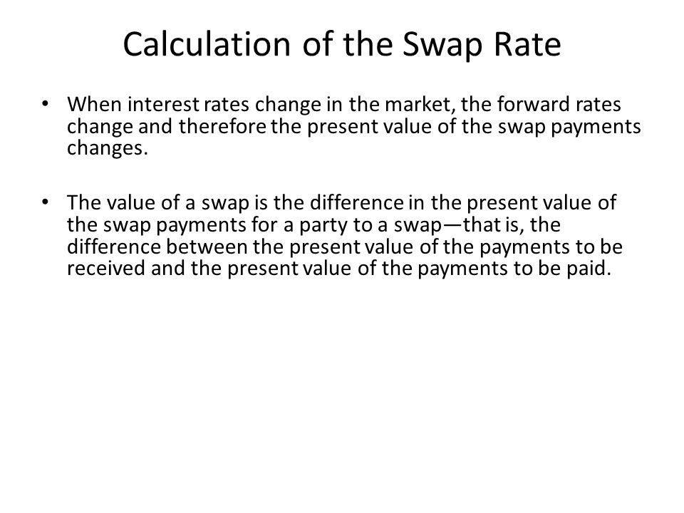 Calculation of the Swap Rate