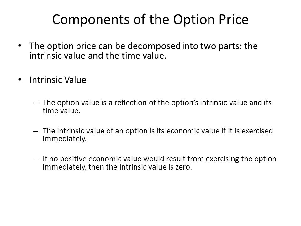 Components of the Option Price