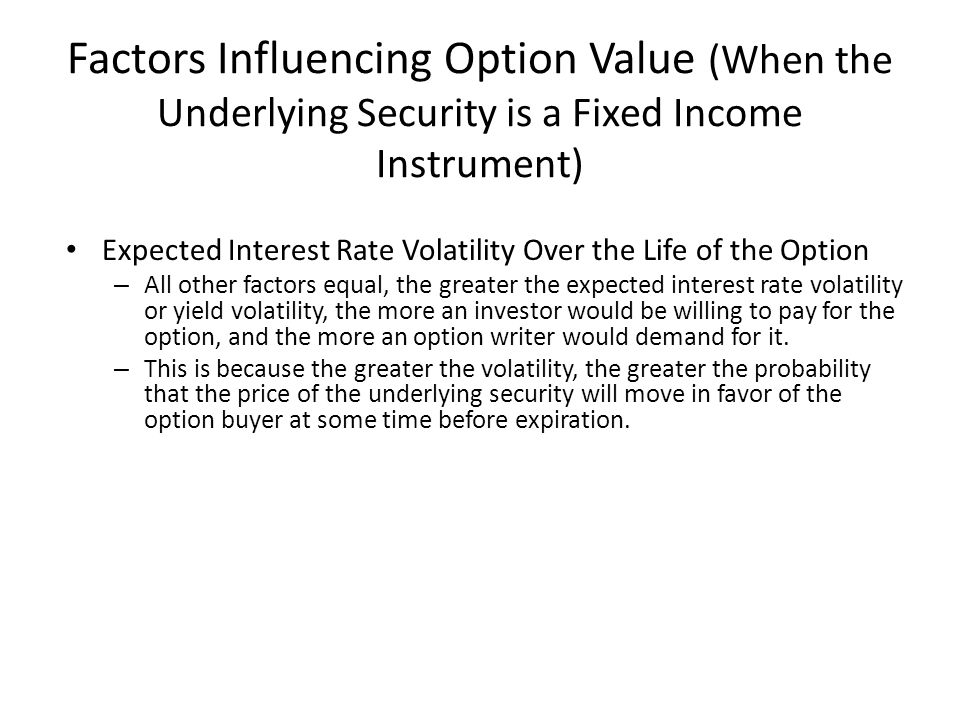Factors Influencing Option Value (When the Underlying Security is a Fixed Income Instrument)