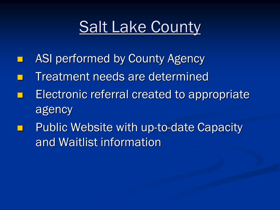 Salt Lake County ASI performed by County Agency