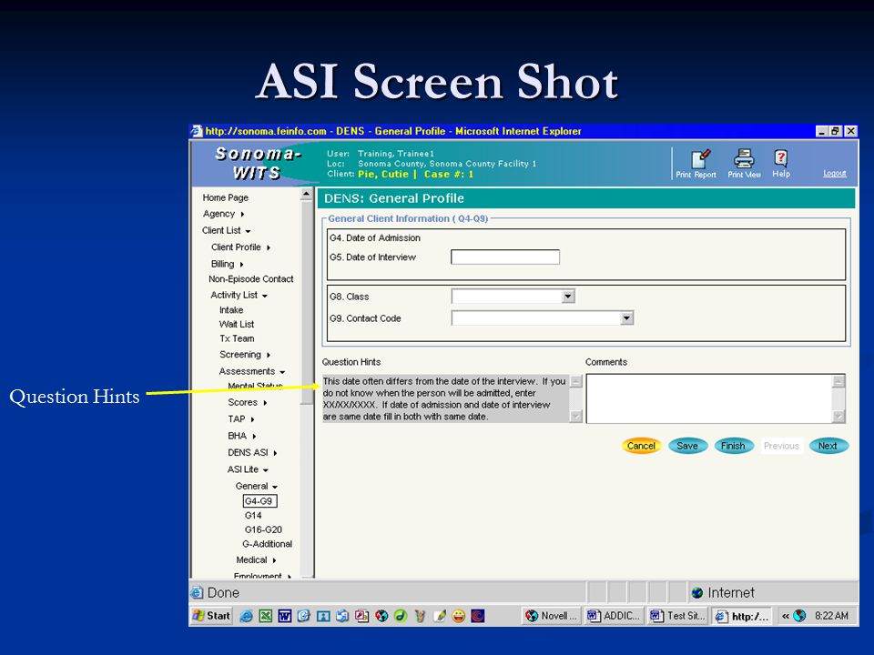 ASI Screen Shot Question Hints