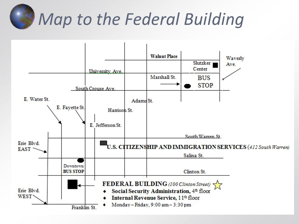 Map to the Federal Building