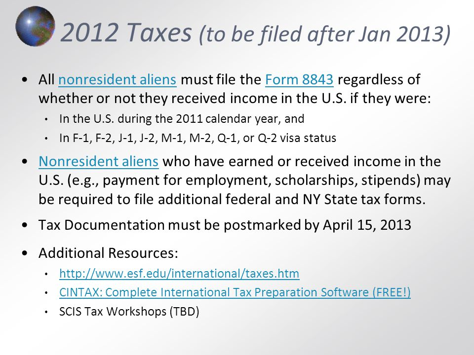 2012 Taxes (to be filed after Jan 2013)