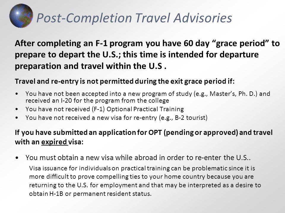 Post-Completion Travel Advisories