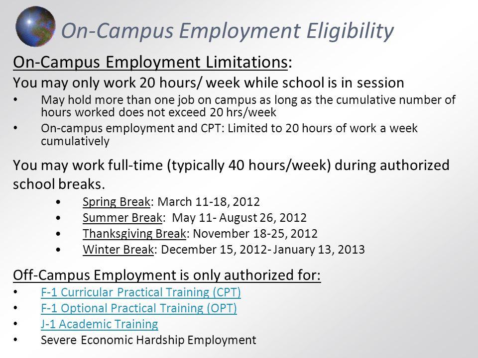 On-Campus Employment Eligibility