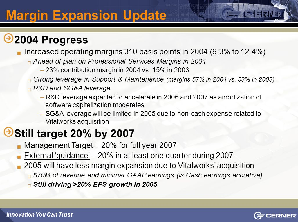 Margin Expansion Update