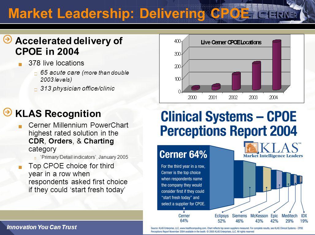 Market Leadership: Delivering CPOE