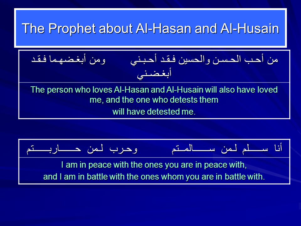 The Prophet about Al-Hasan and Al-Husain