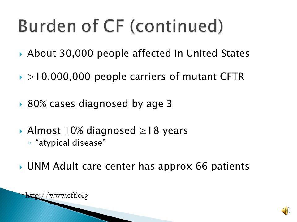 Burden of CF (continued)