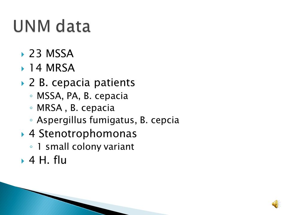 UNM data 23 MSSA 14 MRSA 2 B. cepacia patients 4 Stenotrophomonas