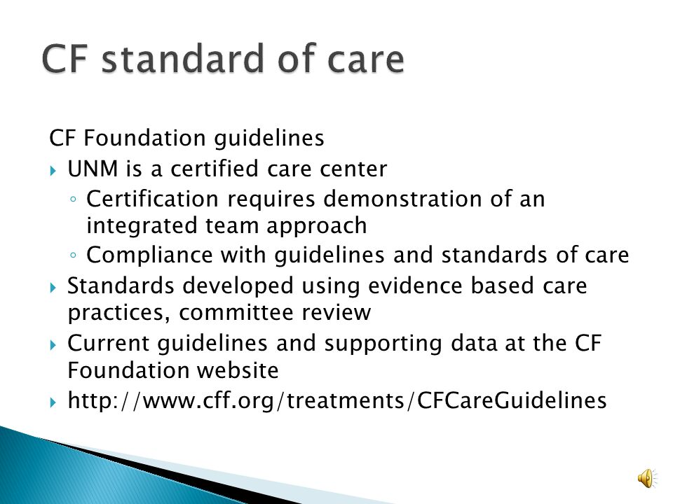 CF standard of care CF Foundation guidelines