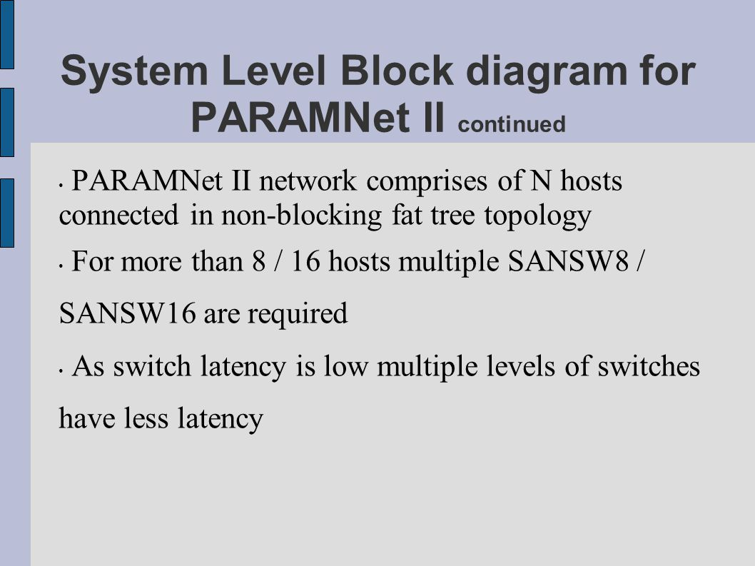 System Level Block diagram for PARAMNet II continued