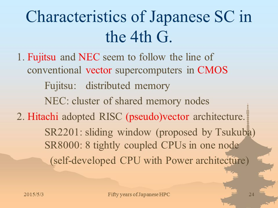 Characteristics of Japanese SC in the 4th G.