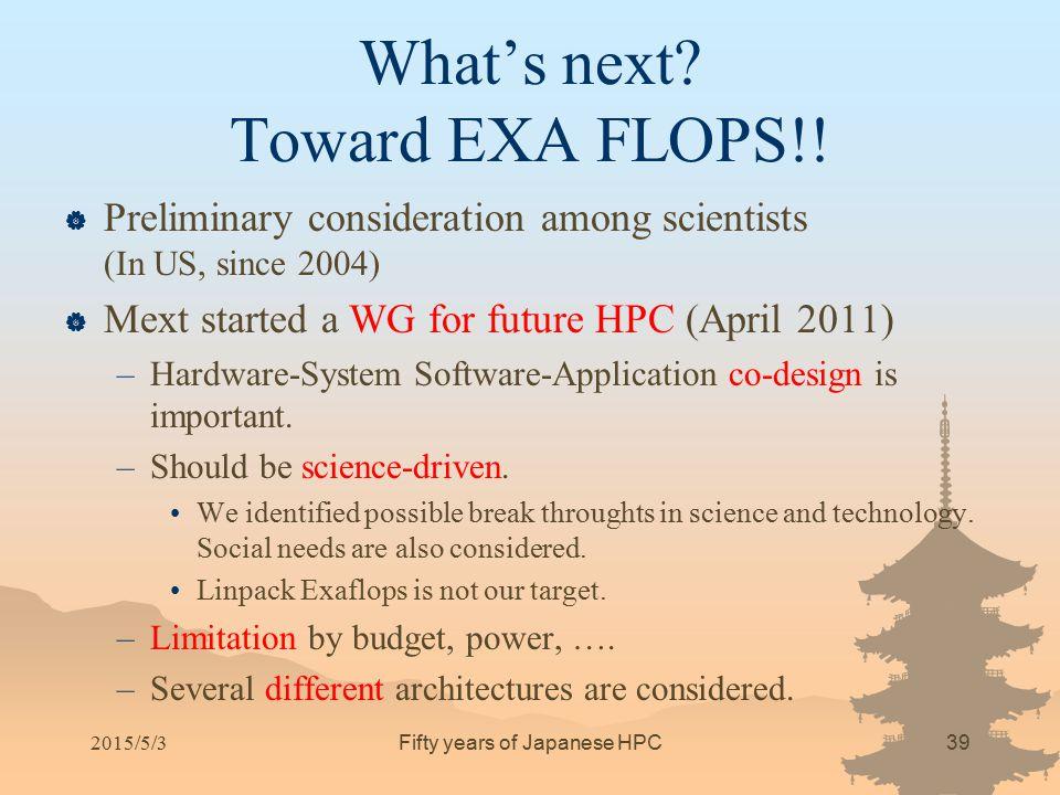 What's next Toward EXA FLOPS!!