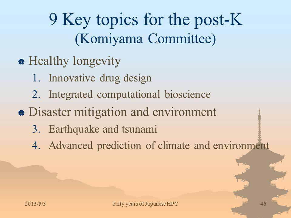 9 Key topics for the post-K (Komiyama Committee)