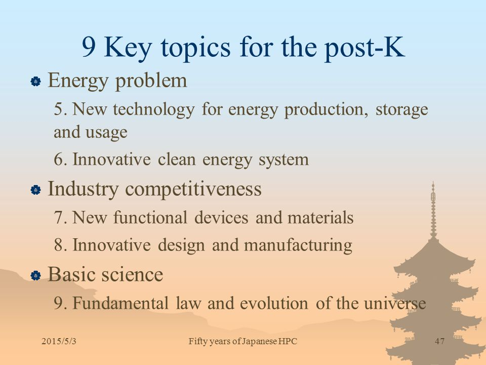 9 Key topics for the post-K