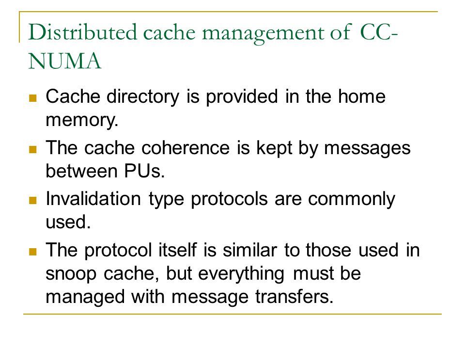 Distributed cache management of CC-NUMA