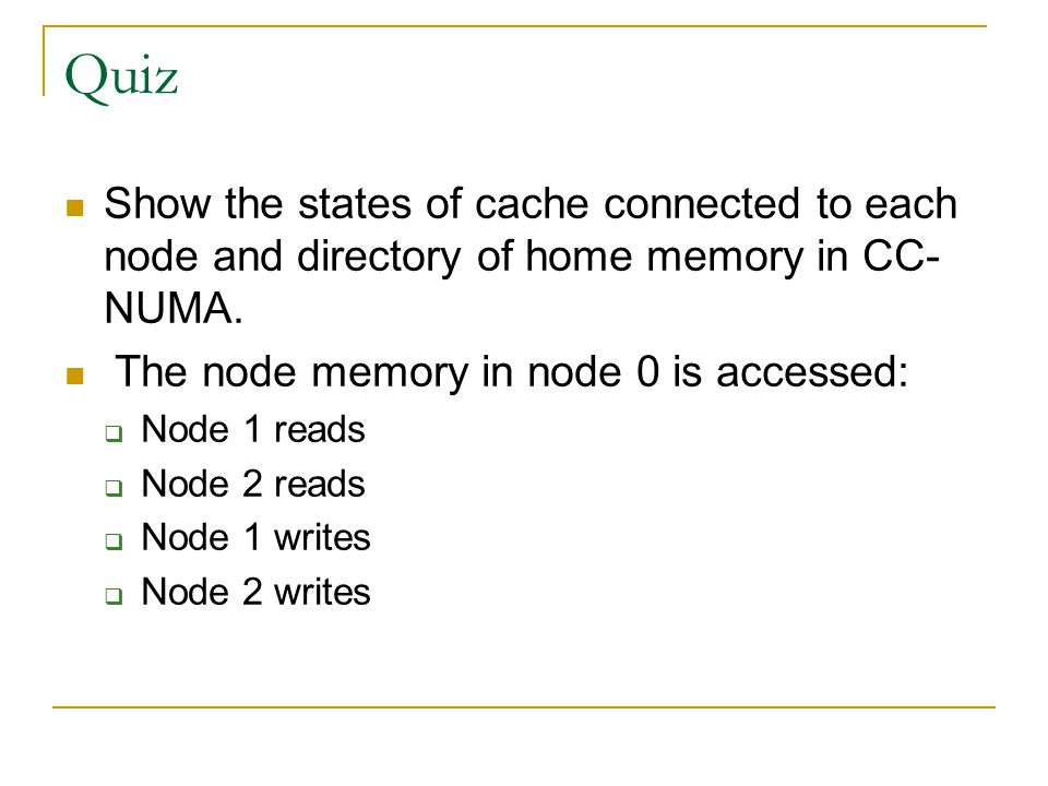 Quiz Show the states of cache connected to each node and directory of home memory in CC-NUMA. The node memory in node 0 is accessed: