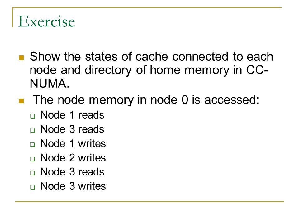 Exercise Show the states of cache connected to each node and directory of home memory in CC-NUMA. The node memory in node 0 is accessed: