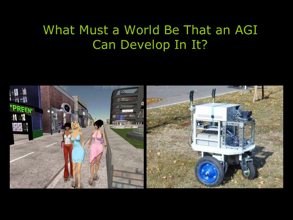 What Must a World Be That an AGI Can Develop In It