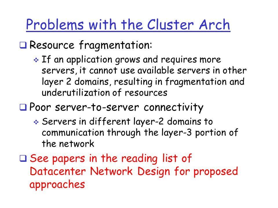 Problems with the Cluster Arch