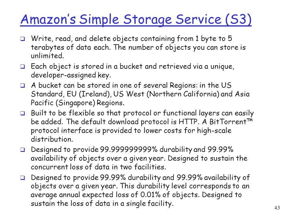 Amazon's Simple Storage Service (S3)