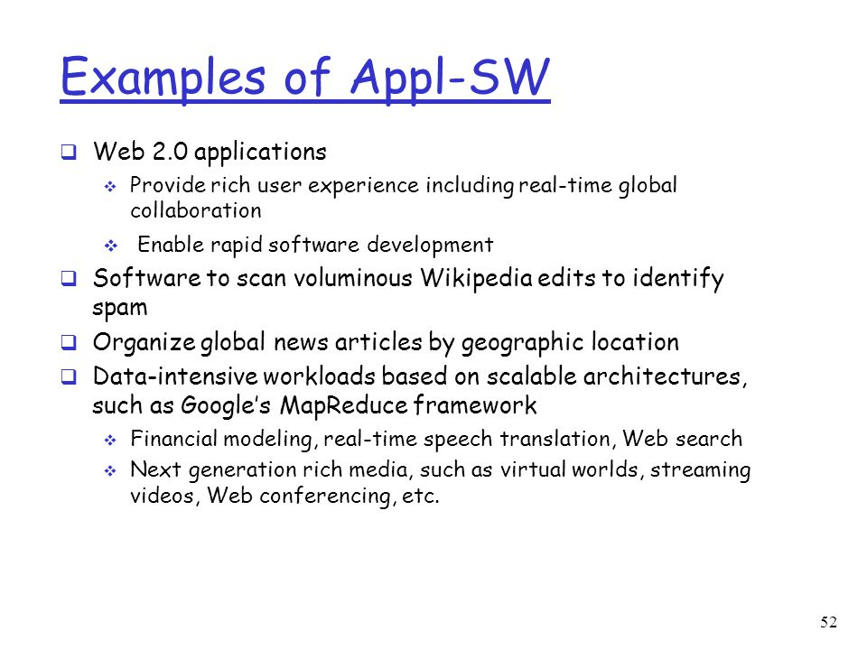 Examples of Appl-SW Web 2.0 applications