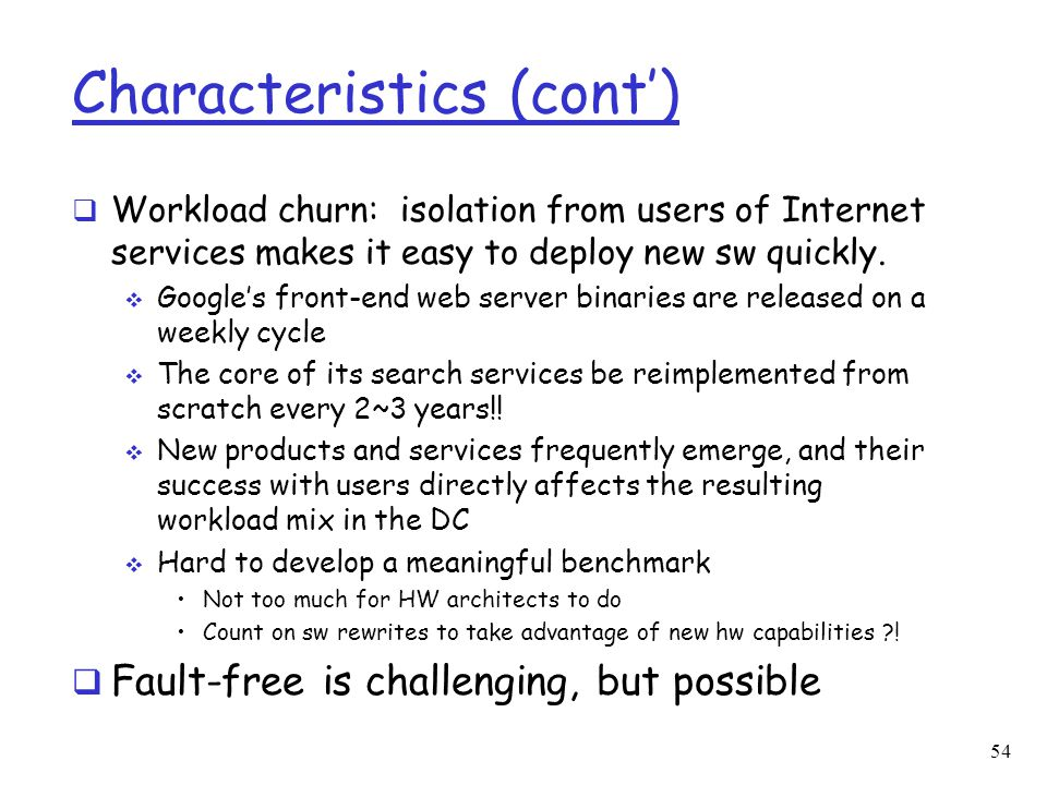 Characteristics (cont')