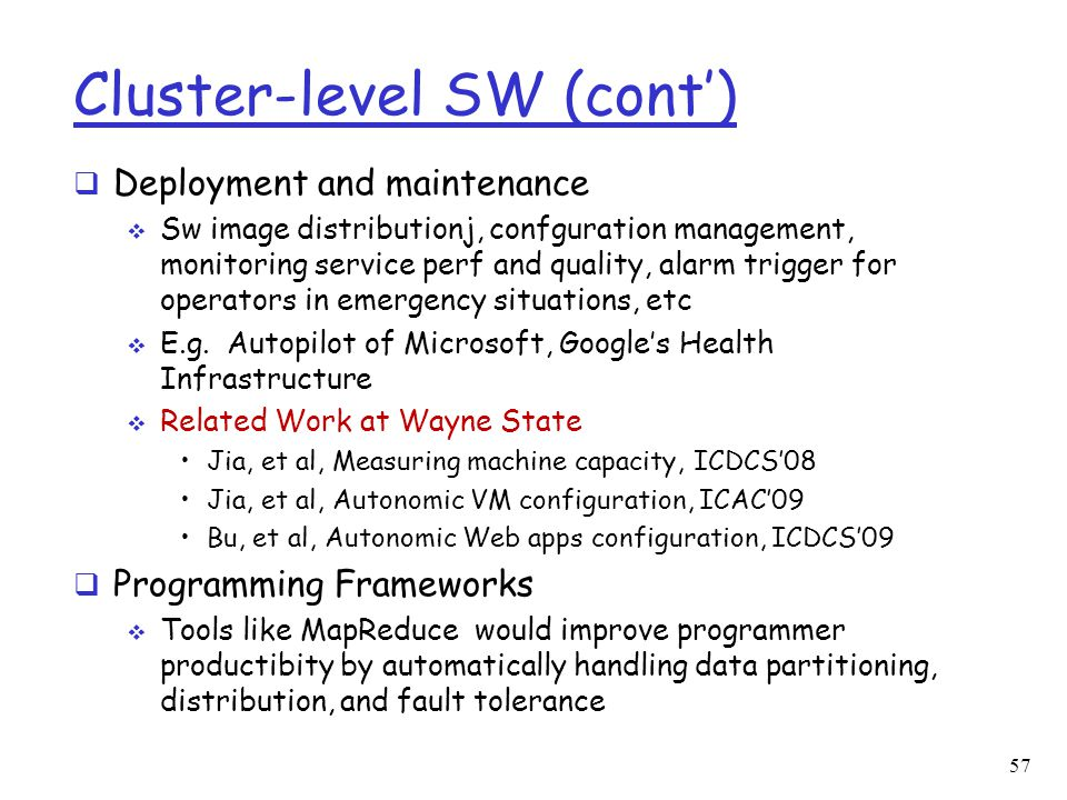 Cluster-level SW (cont')