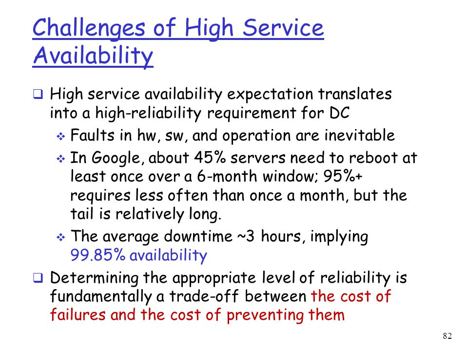 Challenges of High Service Availability