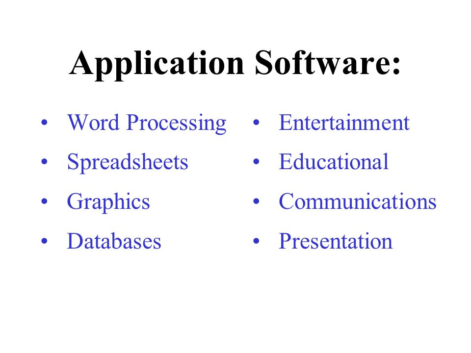 Application Software: