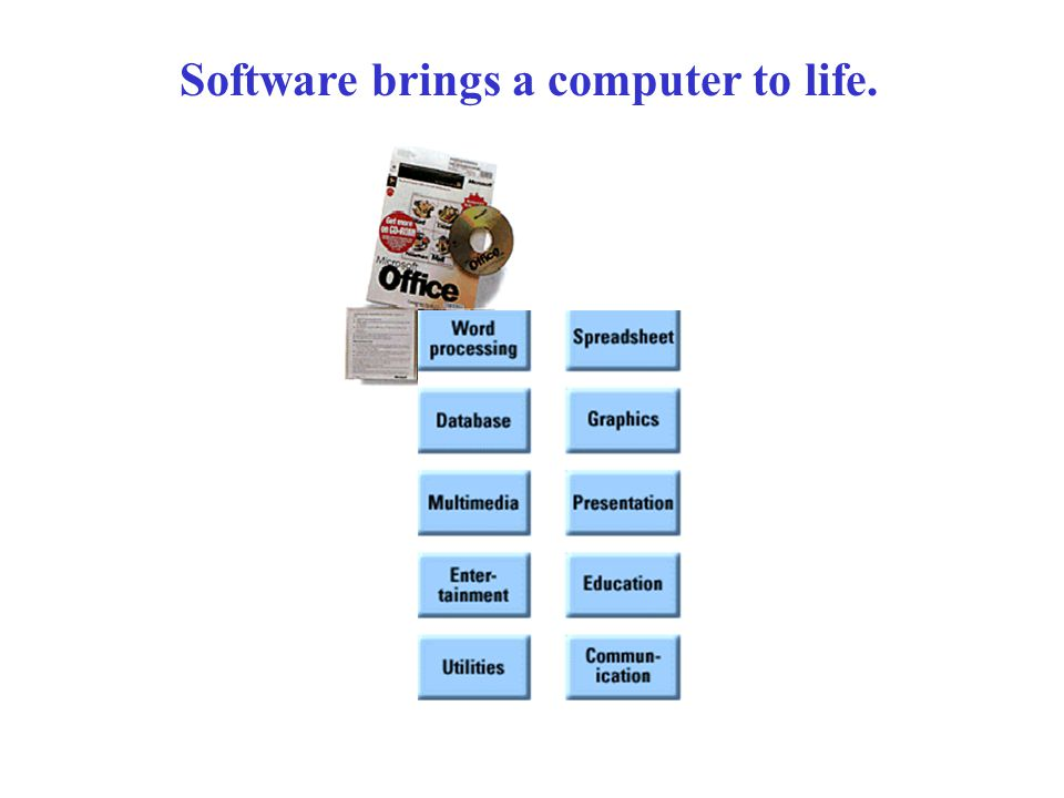 Software brings a computer to life.