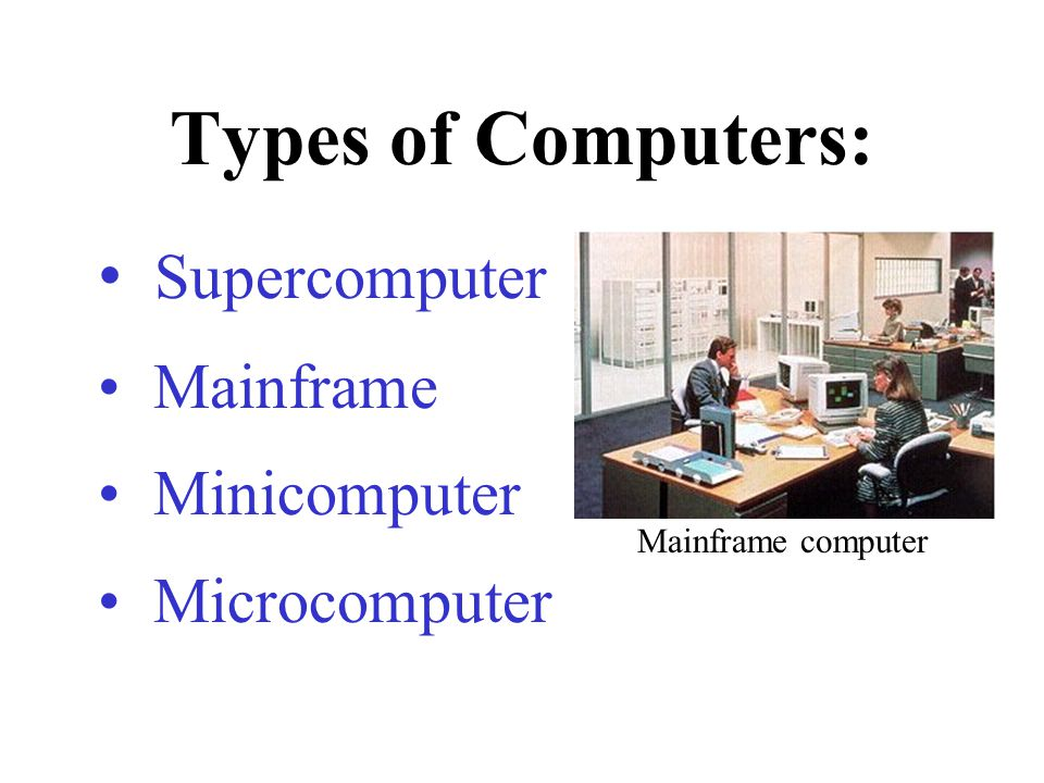 Types of Computers: Supercomputer Mainframe Minicomputer Microcomputer
