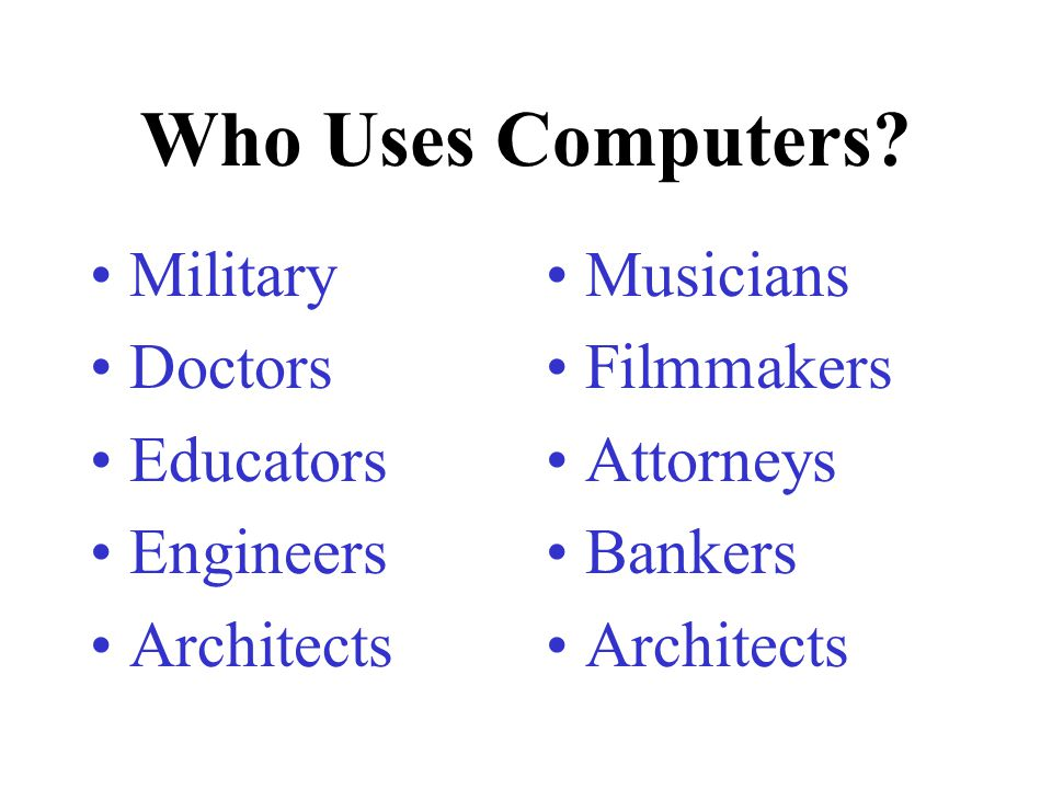 Who Uses Computers Military Doctors Educators Engineers Architects