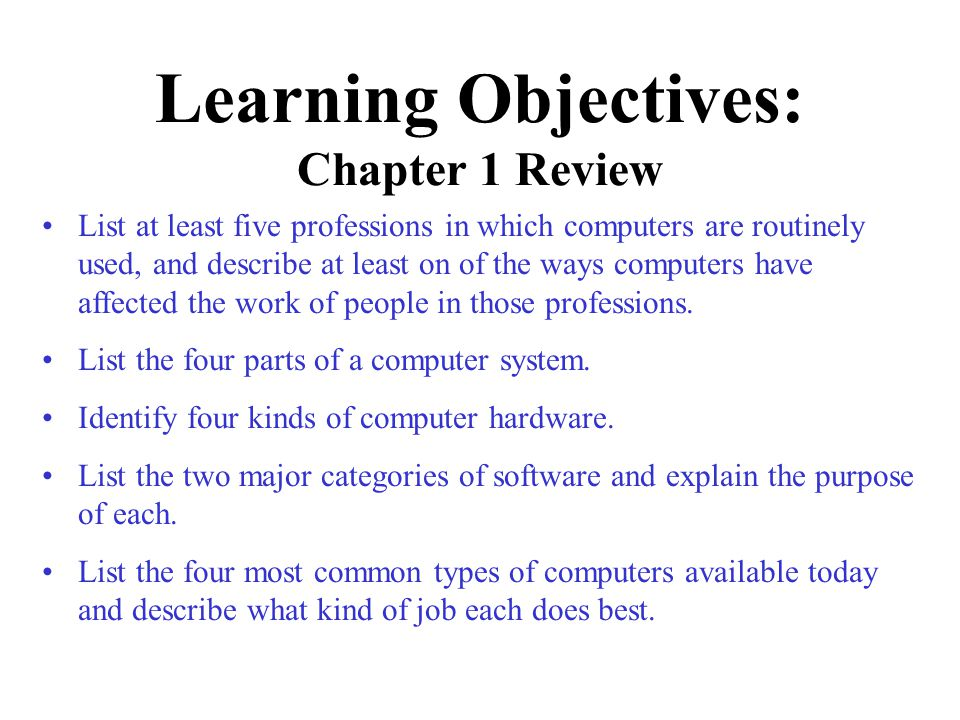 Learning Objectives: Chapter 1 Review