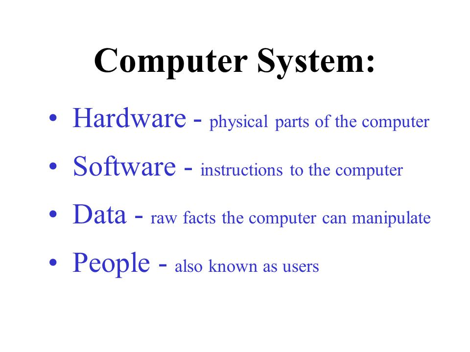 Computer System: Hardware - physical parts of the computer