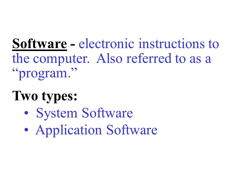 Software - electronic instructions to the computer