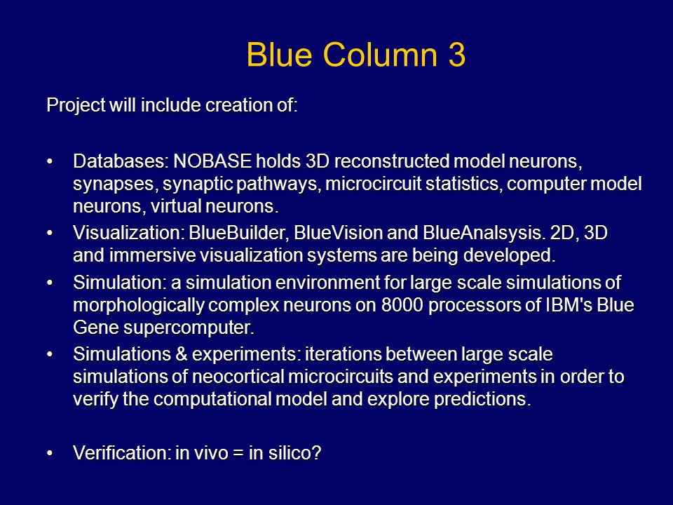 Blue Column 3 Project will include creation of: