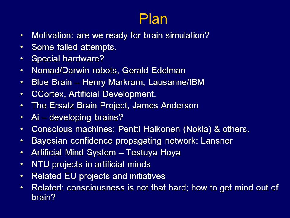 Plan Motivation: are we ready for brain simulation