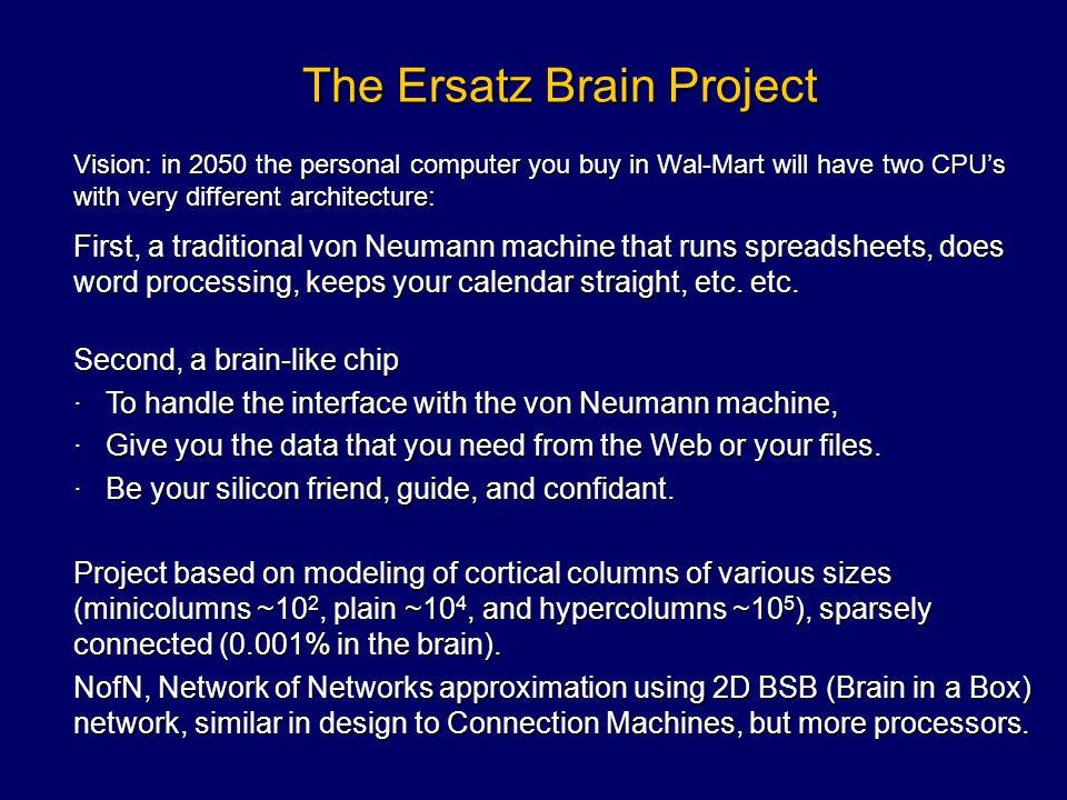 The Ersatz Brain Project