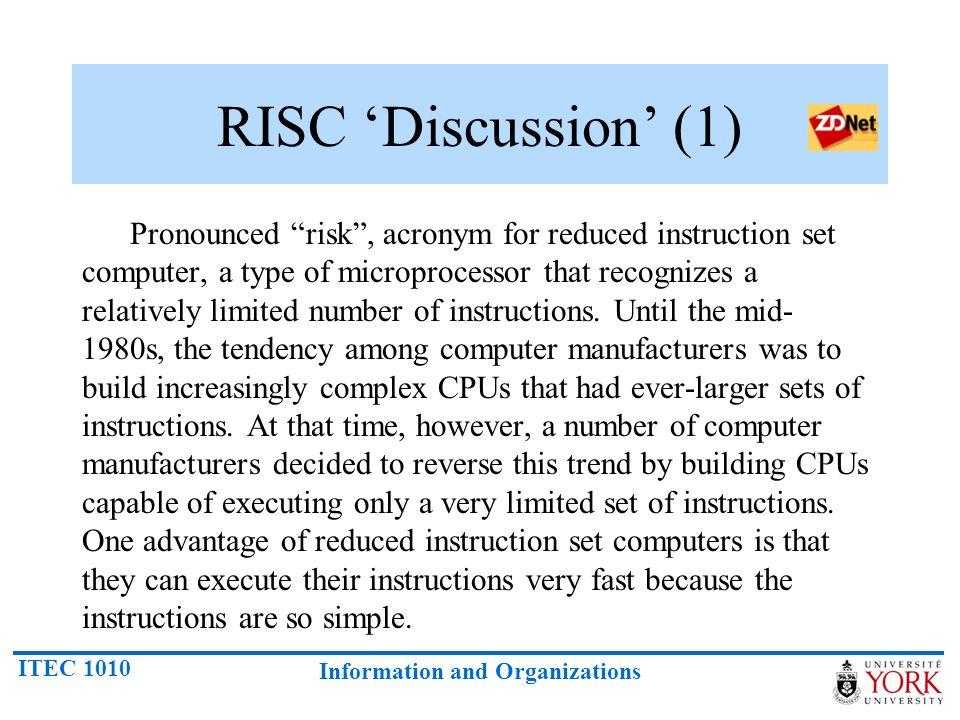 RISC 'Discussion' (1)