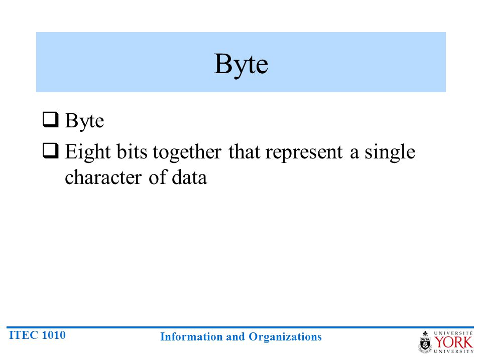 Byte Byte Eight bits together that represent a single character of data