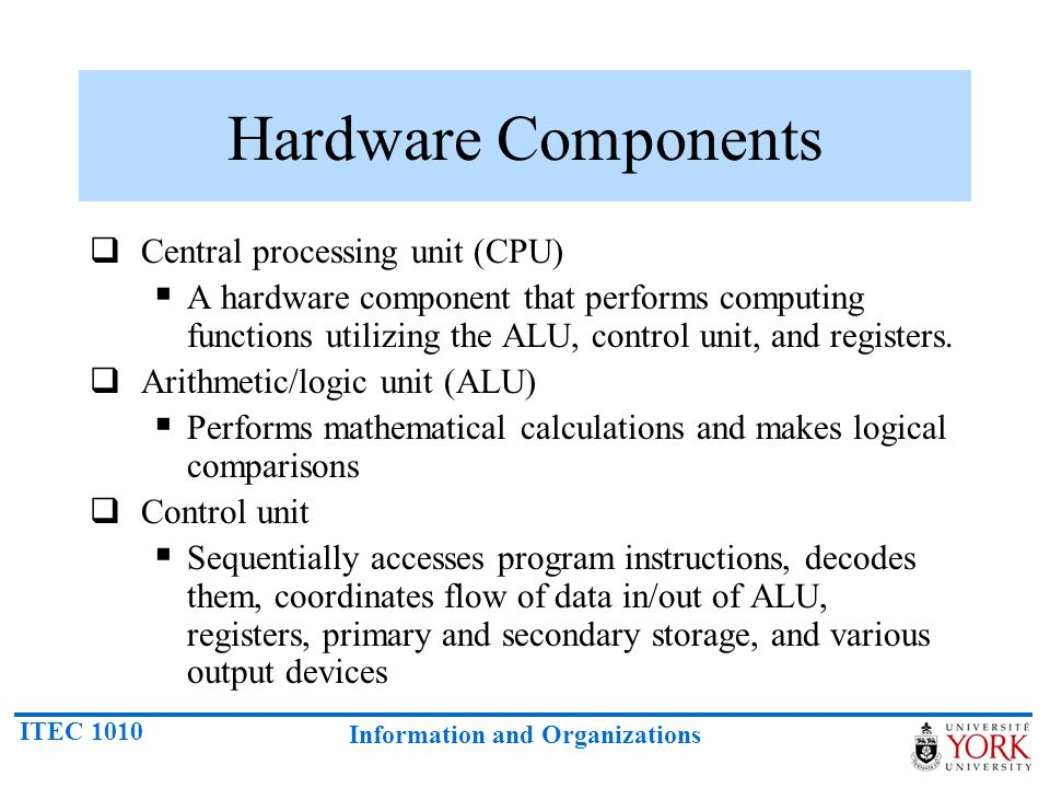 Hardware Components Central processing unit (CPU)