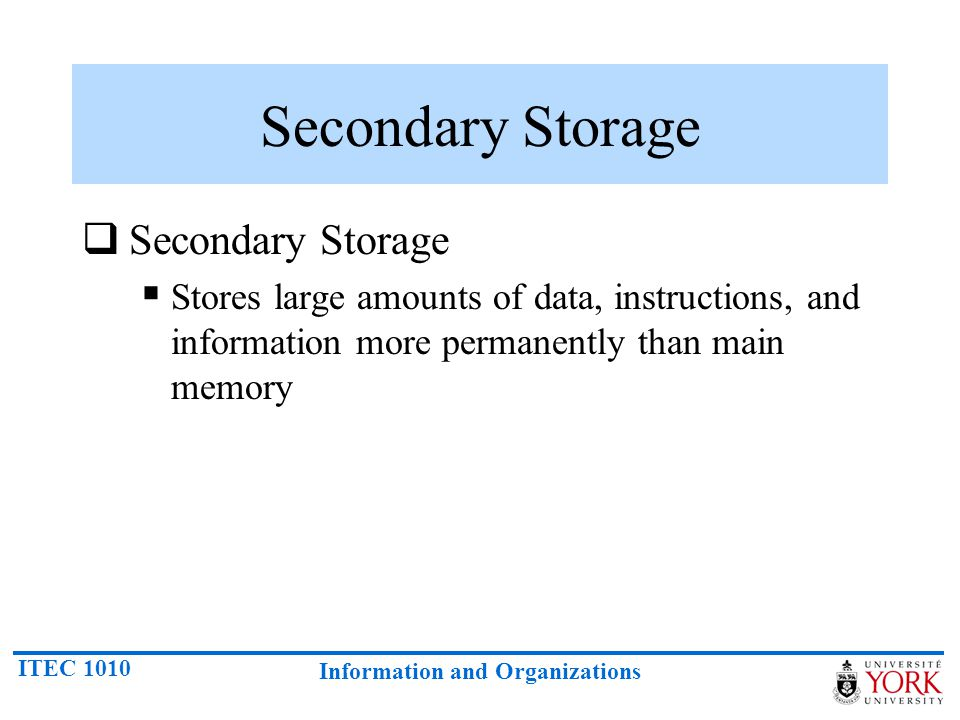 Secondary Storage Secondary Storage