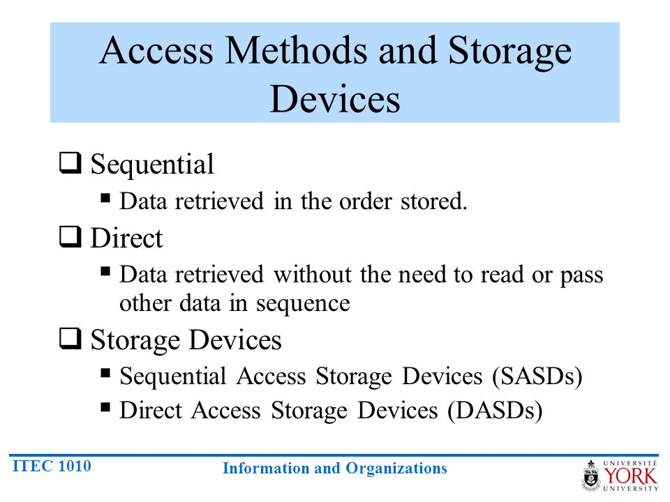 Access Methods and Storage Devices