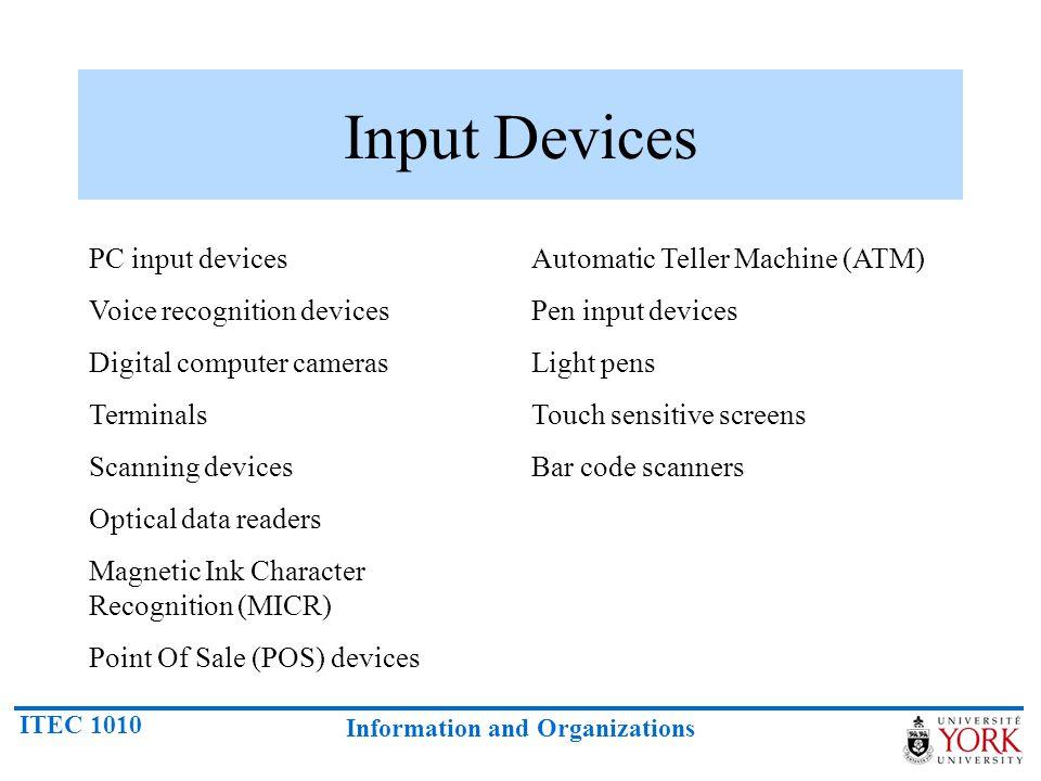 Input Devices PC input devices Voice recognition devices