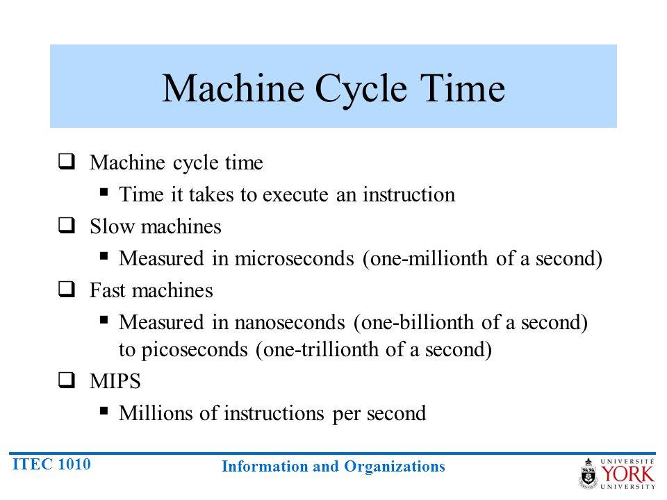 Machine Cycle Time Machine cycle time
