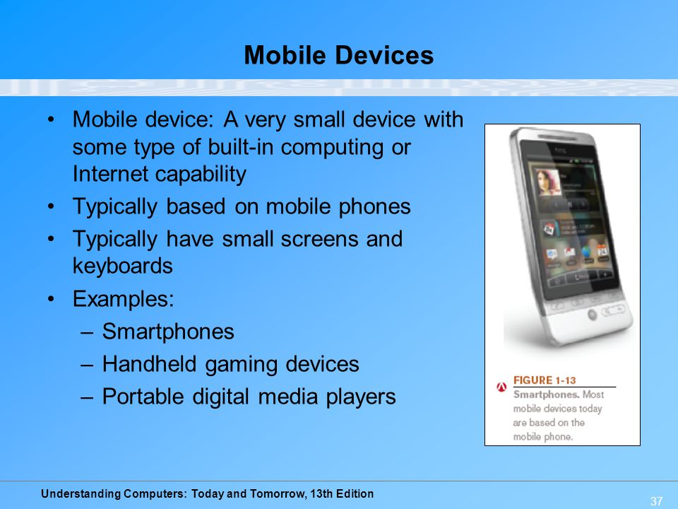 Mobile Devices Mobile device: A very small device with some type of built-in computing or Internet capability.