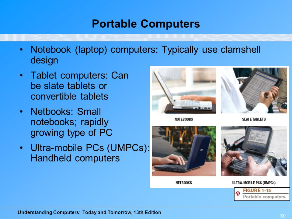 Portable Computers Notebook (laptop) computers: Typically use clamshell design. Tablet computers: Can be slate tablets or convertible tablets.